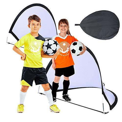 Suny Smiling Kids Fußball-Trainingsnetze, Pop-Up-Fußballtor für Kinder - Zwei tragbare Fußballnetze mit Tragetasche, Gartenziel Zielnetzspielzeug Geschenke