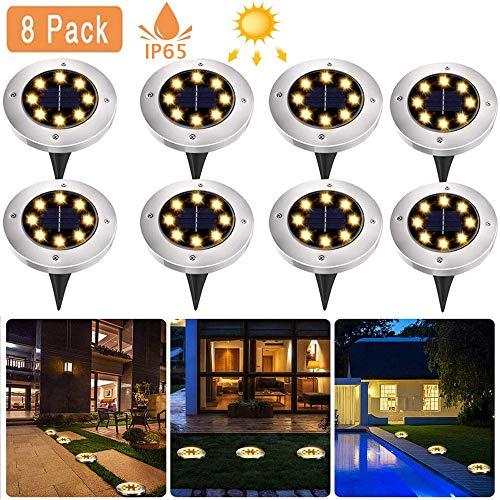 8 Pack Solar Bodenleuchten, 8 LEDS Solarleuchten Solarlampen Gartenleuchten für Außen, 3000K Warmweiß Solarlicht Garten Licht, IP65 Wasserdicht für Rasen, Patio, Hof [Energieklasse A+]