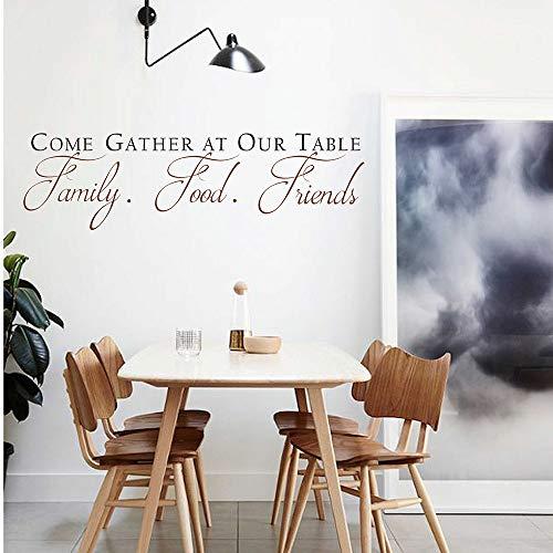 Kom verzamelen aan onze tafel Decal met Scroll Design - Eetkamer Wall Art - Keuken Quote Muursticker - Eetkamer Decor #661Q Eenvoudig aan te brengen en verwijderbaar