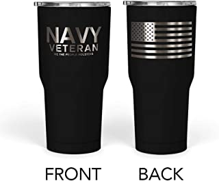 We The People - Navy Veteran Mug - Stainless Steel Travel Mug with American Flag - 30 oz Insulated Tumbler - Veteran Gifts for Men - Military Deployment Gifts (Black)