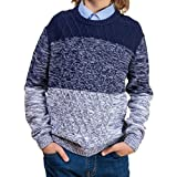 BOBOYOYO Boys Sweater Pullover Kids Long Sleeve Round Neck Cotton Cable Knit Sweater Casual Wearing for Size 5-14Y Navy