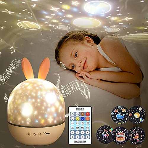 Night Light for Kids,Rotating Starry Night Light Projector with Remote Control,6 Films,USB Rechargeable,Soothe Musics,Bedside Lamp Nursery Light for Baby,Boys,Girls Birthday,Christmas Gift (White)
