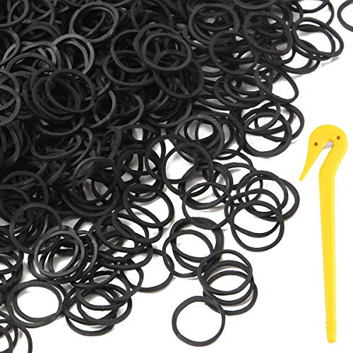Yeipis 1200 Mini Rubber Bands Soft Elastic Bands for Kids, Audits, Ponytails, Braids Hair, with Elastic Hair Bands Remover (Black)