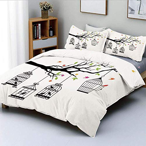 Duvet Cover Set,Floral Colorful Tree Branch with Birds and Open Cages Freedom Theme Spring Liberty HomeDecorative 3 Piece Bedding Set with 2 Pillow Sham,Multi,Best Gift For Kid