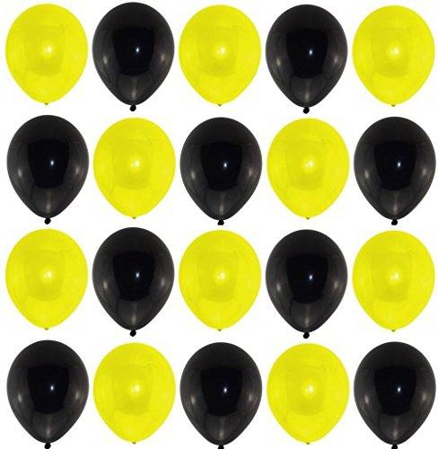 P&S events 25 Premium Luftballons schwarz / gelb Markenqualität Helium Ballongas geeignet Naturlatex 100% giftfrei Fußball Fanartikel Geburtstagsparty Hochzeit Partyballon Bunte Ballons