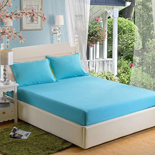 GTWOZNB Bed Sheets, Ultra Soft Silky Smooth and Wrinkle-Resistant Single piece of bed sheet dustproof-tender blue_180*200cm