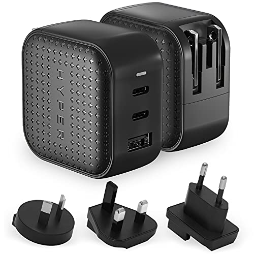 GaN 66W USB C Charger, HyperJuice 3-Ports USB-C Power Adapter with PD3.0 QC3.0 Foldable Plug 65W Type-C Charger for Laptop, Smartphone, iPhone 11 12 Mini Pro Max XR, iPad Pro, MacBook Pro Air, Black