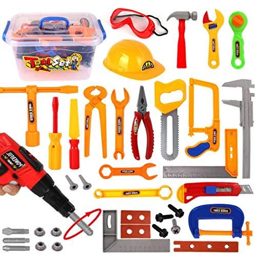 Oeasy Werkzeugkoffer Kinder, 37 Stücke Rollenspiel Werkzeugkasten Werkzeug Spielzeug Spielwerkzeugen Lernspielzeug für Kinder Kleinkind Jungen Mädchen 3 Jahre alt +