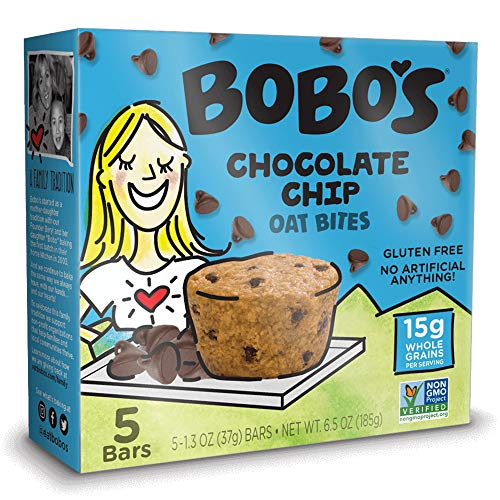 Bobo's Oat Bites, Original with Chocolate Chips, 1.3 Ounce Bites (5ct Box), Gluten Free Whole Grain Snack