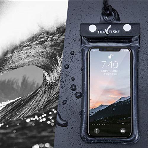 feiren Bolsa impermeable de 7 pulgadas para el teléfono con aire flotante, bolsa de natación para río, senderismo, buceo, playa, piscina, almacenamiento de agua, bolsa de hombro (color mostrado)