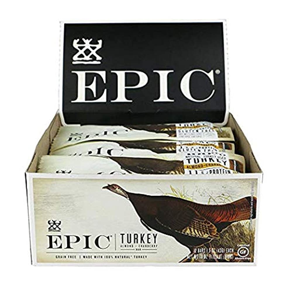 Epic All Natural Meat Bar, Turkey, Almond & Cranberry, 100% Natural, 1.5 ounce, ( 12 Count)
