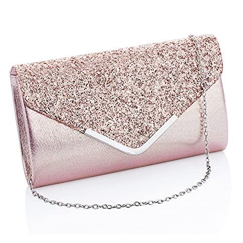 Clutch Geldbörsen für Frauen Abendtaschen und Kupplungen für Frauen Abendtasche Geldbörsen und Handtaschen Abend Kupplung Geldbörse (Color : Pink, Size : One Size)