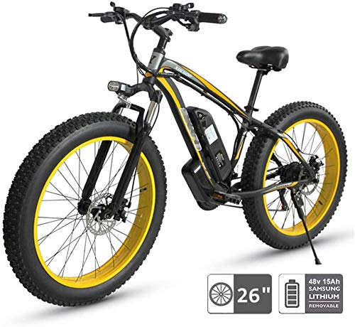 Leggero 48V bici elettrica elettrica Mountain bike, 26 '' Sospensione Fat Tire E-Bike 21 Beach Cruiser Mens Sport Mountain Bike completa 350W ruota posteriore del motore Clearance di inventario