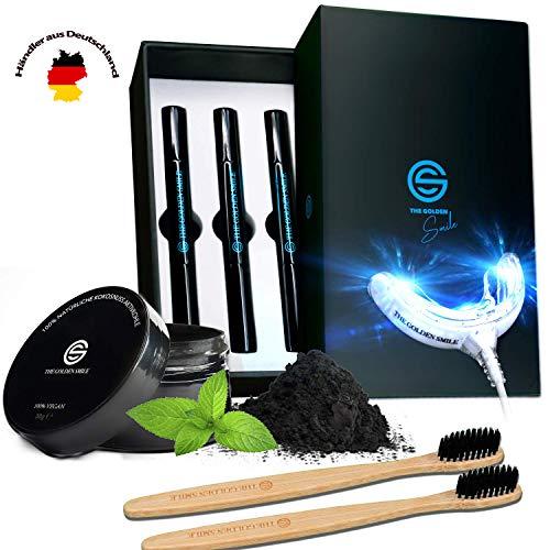 The Golden Smile ™ | Professionelles Zahn Bleaching Set mit Natürlichem Aktivkohle Pulver & Bambus-Zahnbürste | Gegen Gelbe Zähne & Verfärbungen | Hochwertiges Zahnaufhellung Set Teeth Whitening Kit