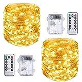Vicloon Guirnaldas Luces LED Exterior, 2Pcs Cadena de Luces LED Impermeable 10M/100 LED, Blanco Cálido Interiores o...