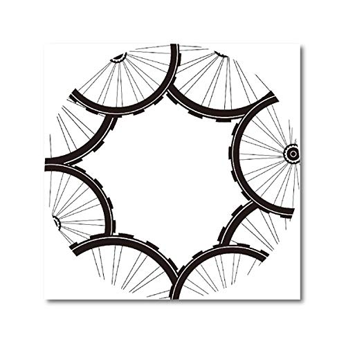Road Bike Wheels Pattern Posters and Prints Mountain Bike Tires Abstract Art Canvas Painting Wall Pictures for Living Room Decor 50x50 cm No Frame