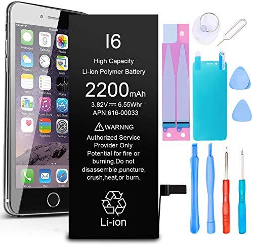 GLOBAL GOLDEN Batería para iPhone 6 2200mAh de Alta Capacidad Batería y con Kits de Herramientas de reparación, Cinta Adhesiva, Protector de Pantalla