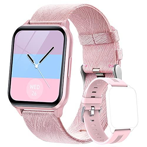 Dwfit Smartwatch,Fitness Uhr mit Pulsmesser Schlafmonitor Musiksteuerung,Wasserdicht Fitness Armband Sportuhr mit Schrittzähler Stoppuhr für Damen Herren für iOS Android Handy