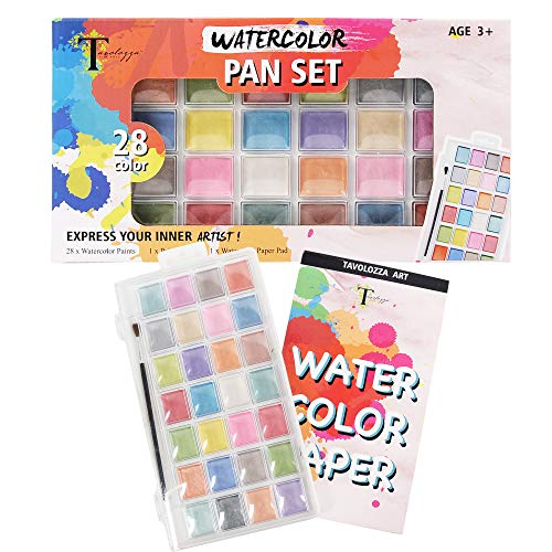 Tavolozza Watercolor Paints, Set of 28 PearlescentVibrant Colors, 10 Sheet Watercolor Pad and Paint Brush for Artist Painting,Beginner and Kids