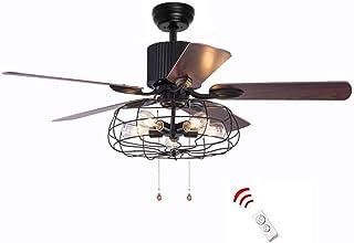Ventilador de techo industrial retro de 52 pulgadas con 5 luces de madera y cadena de estilo rústico para sala de estar (bronce + negro)