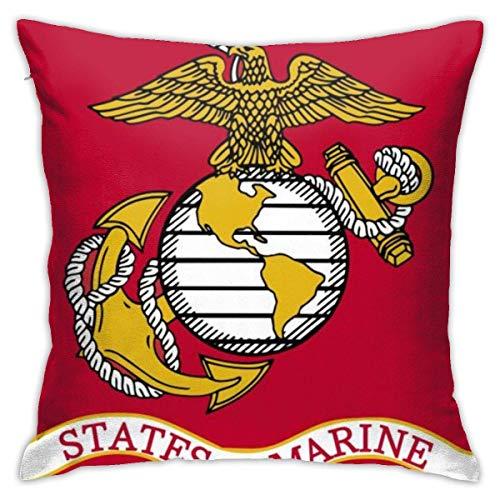 Marine Corps USMC Soft Square Throw Pillow Covers Cushion Case 45X45CM