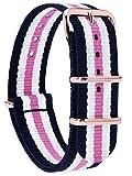 MOMENTO Correa de Reloj de Zulu Nailon para Mujer y Hombre con Hebilla de Acero Inoxidable en Dorado Rose y Tela de Rayas en Azul Blanco Rosa - 20mm