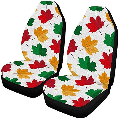 MOLLUDY Fall Autumn Maple Leafs Fundas para asientos delanteros Juego de 2, fundas para alfombrillas