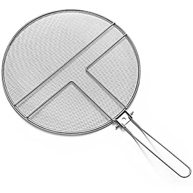 JXJ Stainless Steel Heavy Duty Fine Mesh Splatter Screen With Foldable Stainless Steel Handle- A Premium Grease Guard That Fits Any Pot or Pan and Stops the Splatter, 13  Diameter Splash Guard (white)
