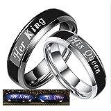 Daesar 2 x Verlobungsringe Edelstahl Ringe für Paar Graviert His Queen Her King Breite 6 MM Trauring Partner Ringe Silber Schwarz Herren Damen Damen Gr.57 (18.1) & Herren Gr.62 (19.7)
