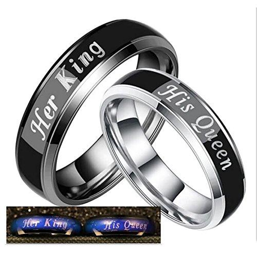 Daesar Damen Ringe Herren Ringe Edelstahl Ringe Paar Ringe mit Gravur Her King His Queen Breite 6 MM Silber Schwarz Eherringe Freundschaftsing Damen Gr.52 (16.6) & Herren Gr.62 (19.7)