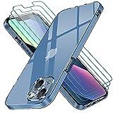 ivoler Funda Compatible con iPhone 13 con Protección de La Cámara, Carcasa Protectora con 3 Piezas Cristal Templado, Transparente Suave TPU Silicona Anti-Choque Caso Delgada Anti-arañazos Case