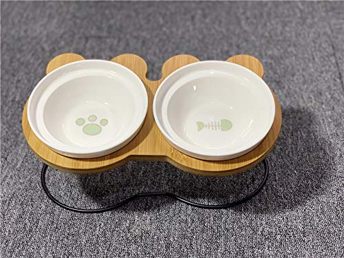 Cat bowl kat kom dubbele kom water kom ceramische schotel met een afdruiprek geneigd zijn om de cervicale bevel hond kom dubbele bowl beschermen (+ footprint graten) + afdruiprek