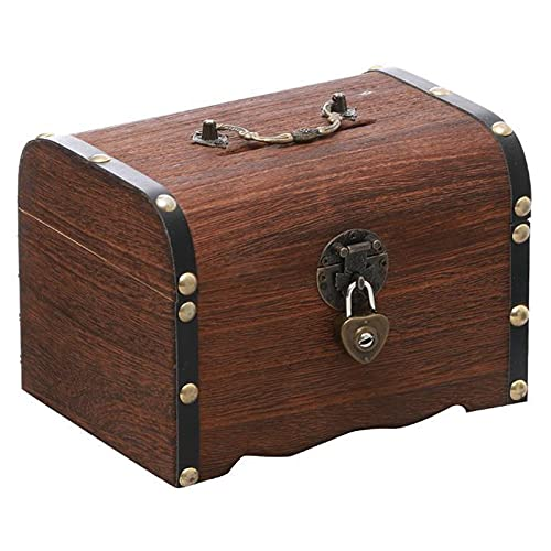 solawill Cofre del tesoro , Cofre del Tesoro de Madera Cofre pirata Cofre de madera Cofre del Tesoro de Madera con Candad Caja pirata,con cerradura y llave,regalo para niños y adultos,15*10*10cm