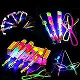 Amazing Led Light Arrow Rocket Helicopter Flying Toy Party Fun Gift Elastic (30 PCS)