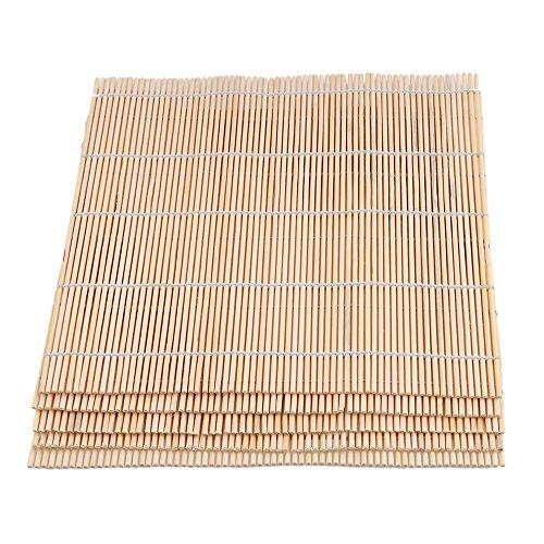 BQLZR Jaune clair carré 24 x 24 cm en bambou Tapis à sushi Rouleau Maker DIY Outil de nourriture Lot de 5