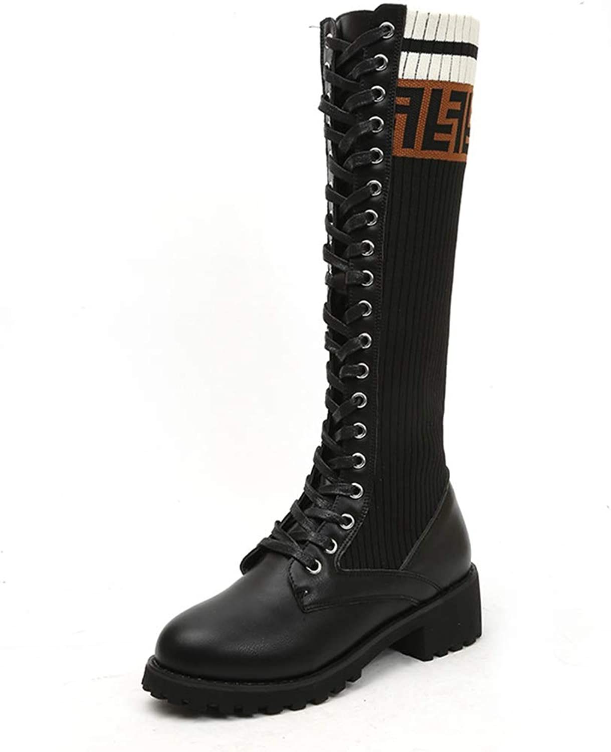 York Zhu Tall Boots for Women - Lace up Mid Calf Riding Boots for Women
