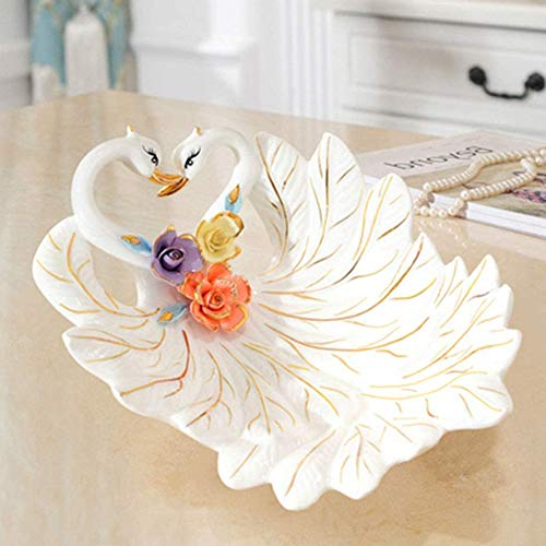 Swan Bowl Snack Plate Fruitschaal, Snoep Ceramic Coffee Plate, Decoratie Europese Gedroogd Fruit Plate Gift Tea Tray,White