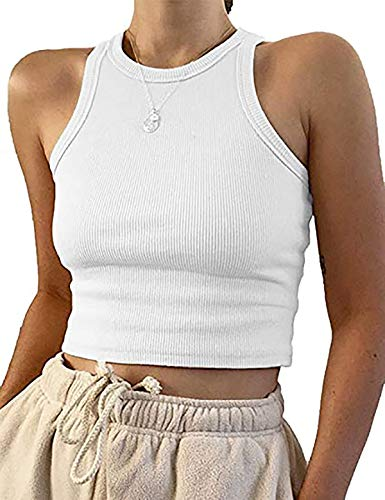 Meladyan Women's Round Neck Basic Racerback Camisole Rib-Knit Solid Sleeveless Crop Tank Tops White