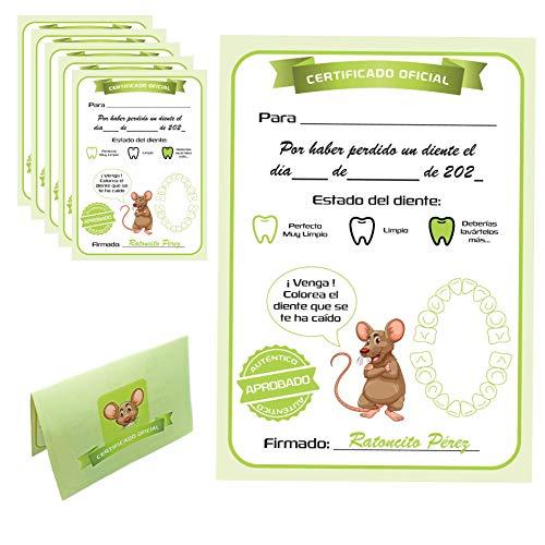 MFS Myfuturshop® Carta ratoncito Pérez Certificado de Diente Limpio 10 Unidades. Regalo Original para niño y niña.