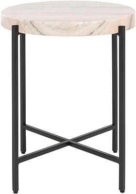 Safavieh Home Azula Marble Stone Top Accent Table, Burnt Orange/Black
