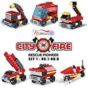 Nainiuao 222Pcs Fire Rescue Vehicles Building Blocks Set , 6 Different Models Filled in 6 Easter Eggs Including Fire Boat,Helicopters and Fire Truck for Kids Easter Egg Fillers, Easter Basket Fillers