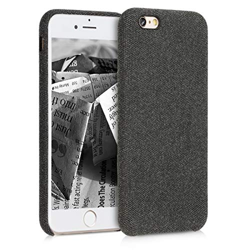 kwmobile Hülle kompatibel mit Apple iPhone 6 / 6S - Stoff Case Handy Schutzhülle - Backcover Cover Schwarz
