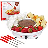 Chocolate Fondue Maker- Deluxe Electric Dessert Fountain Fondue Pot Set with 4 Forks and Party Serving Tray