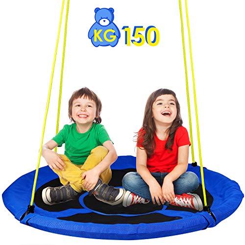 amzdeal Nestschaukel Garten-Schaukel 110cm,Hängematte Kinderschaukel Indoor und Outdoor bis 150kg Belastbar Höheverstellbare Tellerschaukel Hängeschaukel für Kinder Erwachsener (Blau)