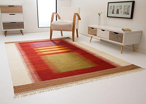 Kelim Palas Teppich Handgewebt aus feinster Wolle Felder in Rot, Größe: 140x200 cm