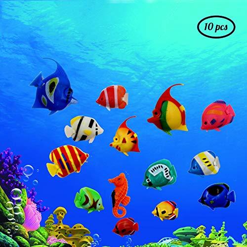 GWFISH Aquarien Zubehör Dekor Simulation Fische, Zierfische Aquarium Supplies Kunststoff-Fische 10Pcs