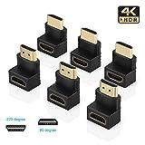 ELUTENG HDMI Negro Adaptador ángulo Recto de 90 Grado y 270 Grado hdmi 2.0 Macho a Hembra Adaptadores Soporte PS4 / Xbox/TV/PC/Monitor