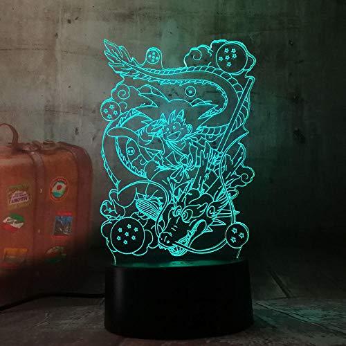 Luz de Noche 3D Anime Ilusión Lámparas de decoración LED 3D Lámpara de Regalo para Luz de Dormitorio Sensor táctil LED Lámpara de EscritorioLuz nocturna para niños Dragon Ball Goku E