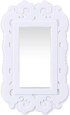 Zahab Wall Mirror for Home Decor Living Room, Bedroom Decorative Wall Mirror for Living Room Vanity Plastic Frame Set of 3 White