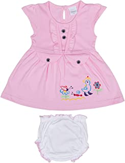 Hopscotch Baby Girls Cotton Short Sleeves Animal Embroidery Dress with Bloomer in Pink Color